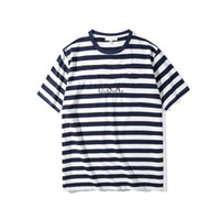 Wholesale clothing women usa for sale – custom Jeans USA Womens Striped T shirt Fashion Embroidery Designer Tees Short Sleeved Tops Clothes Summer Casual Couple Tees