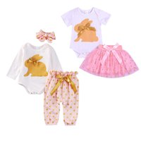 Wholesale toddler easter resale online - Baby Girls Easter Outfits Infant Cartoon Bunny Ear Long Sleeve Tops Kids CasualClothes Girls Pants Toddler Baby Dot TUTU Dress Suits