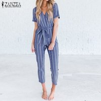 Wholesale working women jumpsuit for sale - Group buy Casual Belted Rompers Women Striped Jumpsuits Female Elegant V Neck Playsuits Office Lady Work Overalls Oversized