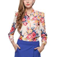 frauen chiffonkragen blusen großhandel-2019 Frauen Bluse Zittern Voll Chiffon Stehkragen Puffärmel Büro Dame Frauen Shirts Plus Size Rosa Strickjacke Blusen