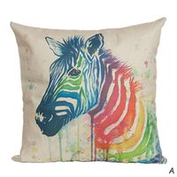 Wholesale zebra print sofas resale online - Colorful Zebra Cotton Linen Square Pillow Case cm Sofa Car Waist Cushion Cover Home Decor Pillowslip Pillow Cover
