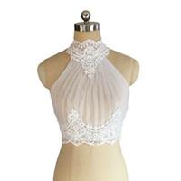 perlen halskette zubehör für frau großhandel-Elegante Elfenbein Perlen Spitze Braut Halskette Frauen formale Boleros Jacken Mäntel weiße Hochzeit Hochzeit Zubehör
