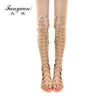 bota plana atada al por mayor-Fanyuan Lace-Up Butterfly-nudo Botas de verano Peep Toe Botas largas con tiras cruzadas Cómodo plano sobre la rodilla Zapatos de mujer