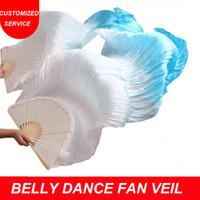 ventiladores da barriga de seda venda por atacado-Mulheres 100% Véus De Seda Do Ventre De Dança Do Ventre 1 Par Chinês Preço De Fábrica Por Atacado