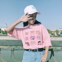 camiseta mulher marinheiro venda por atacado-Verão engraçado de Kawaii dos desenhos animados Sailor Moon letras impressas O-pescoço curto T-shirt Mulheres manga Vestuário Tops T das meninas Rosa Branco
