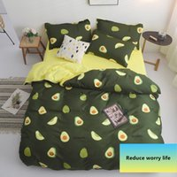 Wholesale full bedding sets for adults resale online - Avocado Cartoon Bedding Set for Kids Adult Duvet Cover King Queen Size Printing Bed Set Green Home Textiles Bedclothes