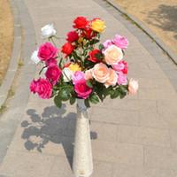 decoración de la habitación rosas al por mayor-Flores artificiales Decoración Colores Rosas Seda Arreglo de cabeza de flor Fiesta de boda Decoración decorativa Rosas artificiales Hogar
