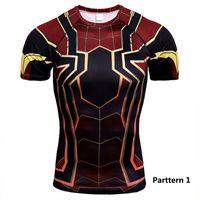 schnelle trockene sportdruckhemden großhandel-Marvel Series 3D Digital Printed Superman Kurzarm-T-Shirt Sportstrumpfhose Herren Quick Dry Fitness (Parttern1-20)