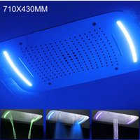 Wholesale massage panels for sale - 710x430 MM Modern Multifunction Electric LED Showerhead Large Rainfall Massage Waterfall Mist Shower Panel Stainless Steel Polished