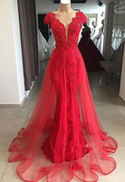 Wholesale arabic dresses for sale - Glamorous Red V Neck Cap Sleeves Evening Dresses Lace Appliques Mermaid Overskirt full length arabic occasion prom formal gown