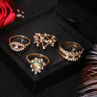 Wholesale gold wedding band price resale online - 4 Gold wedding ring set Crystal rhinestone lady ring set for women Fashion cheap best price jewelry factory selfdesign for wife gift