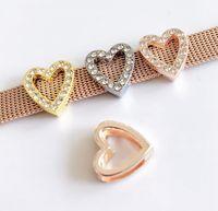 Wholesale bead dogs resale online - 10PCs mm Rhinestone Hollow Heart Slide Charms Beads Fit MM Dog Cat Collar Name Belt Wristband Bracelets