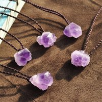 Wholesale new energy pendant resale online - Rough Energy Stone Exorcise Evil Spirits Healing Crystals Natural Amethyst Pendant Woman Meditation New Jewelry Accessories Hot Sale ajb1