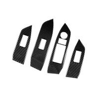interruptor de ventanas mazda al por mayor-Panel de interruptor de la ventana del coche de fibra de carbono Ajustar cubierta Recortar Pegatinas Tiras Decorar Decoración Para Mazda CX-5 CX5 2017 2018 KF LHD Car Styling
