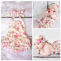 Wholesale headband shoes for babies for sale - Group buy HOT SALE Floral baby lace romper for toddler headband shoe set ropa bebe boutique infant summer clothes newborn baby girl clothes sets