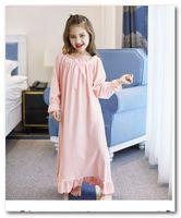 pijamas princesa crianças venda por atacado-pijamas meninas miúdos doces Arcos alargamento manga Falbala inverno queda princesa sleepwear laço novo crianças de veludo vestido longo macio roupa de dormir J0495