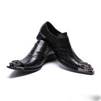 Wholesale double buckle shoes mens resale online - Mens Fashion Double buckle Party Shoes Slip On Comfort Geniune Leather pointet toe Formal Dress I toe oxford