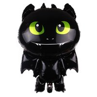 Wholesale party online - Aluminum Film Balloon How To Train Your Dragon Balloons Toothless Party Decor Airballoon Black Tuba Fashion fy D1