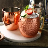 Wholesale iced tea drinks resale online - 18oz Moscow Mule Mug Stainless Steel Hammered Copper Mug for Beer Ice Coffee Tea Plating Hammered Drum Cocktail Drink Cups ZZA1429