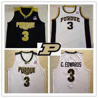 araba üstü siyah toptan satış-En kaliteli # 3 Carsen Edwards Purdue Boilermaker v yaka Basketbol Yuvarlak yaka Jersey siyah beyaz Altın Erkekler Gençlik Çocuk dikişli Formalar