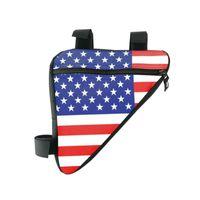 держатели для флагов оптовых-Водонепроницаемый Велоспорт Сумки Печатных Американский флаг Треугольник Велоспорт Сумки Велосипедов Передняя Труба Рама Сумка Горный Велосипед Чехол Держатель Велосипед # 257378