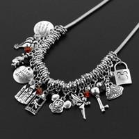 Wholesale princess key resale online - Princess Rapunzel Tangled Charm Necklace Key Choker Statement Necklace Crystal Bead Pendant For Women Girl Gift