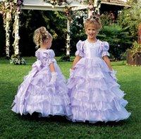 lila spitzenkleid blumenmädchen großhandel-2019 Wunderschöne Lila Ballkleid Pageant Abendkleider für Mädchen Spitze Jewel Neck Organza Rüschen bodenlangen Kommunion Party Blumenmädchen Kleid