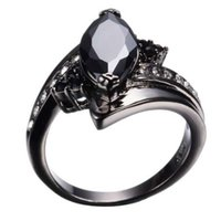 ingrosso le pietre nere squillano le donne-Personalità Black Horse Eye Style Zircone Stone Rings per le donne Uomini Black Gold Filled Retro Jewelry Wedding Party Ring RB0403