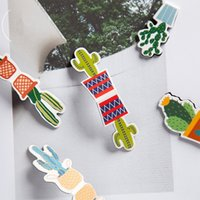 Wholesale plastic bookmark clips resale online - 24 Cartoon Cactus magnetic bookmark Mini page clips book marks Stationery item Office School supplies marcapaginas