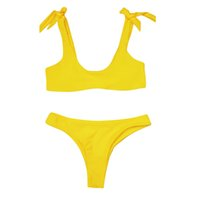 traje de baño de color rojo al por mayor-Sexy mujeres vendaje Bowknot color sólido Bikini conjunto traje de baño traje de baño traje de baño ropa de playa amarillo / rojo