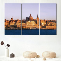 Wholesale beach wall art piece for sale - Group buy 3 piece canvas print modern art painting valletta malta beach buildings picture for living room wall decor