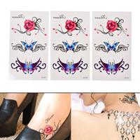 tatuajes falsos sexy al por mayor-Nueva Sexy Mariposa 3d Guirnalda Tatuaje Temporal Body Art Flash Tattoo Pegatinas Flor Rosa Impermeable Fake Tatoo Henna Herramientas