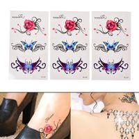 ingrosso tatuaggi rosa sexy-Nuova farfalla sexy 3d ghirlanda tatuaggio temporaneo body art tatuaggio flash adesivi fiore rosa impermeabile falso strumenti Tatoo henné