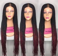 Wholesale braid black hair american for sale - Long Ombre burgundy red Box Braided wig africa american women style brazilian hair full lace Front baby hair Wig with braid