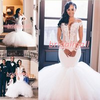 Wholesale wedding dress puffy shoulders resale online - Plus Size African Mermaid Wedding Dresses Off The Shoulder Lace Appliques Long Illusion Sleeves Garden Bridal Gowns With Puffy Bottom