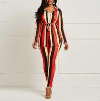 roupas de trabalho de moda venda por atacado-Feminino Striped Set Mulheres de duas peças camisa de manga comprida Top calças Pant Moda Sexy equipamento de escritório Lady Trabalho desgaste Suit