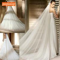 velos que se arrastran al por mayor-Yashmac de lujo blanco 3 m de largo Velo de novia detrás de una capa catedral velos velo de novia con accesorios de boda peine