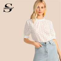 5a7343d7e2 Sheinside Elegant White Eyelet Embroidered Detail Blouse Women 2019 Summer Puff  Sleeve Blouses Ladies Solid Keyhole Back Top
