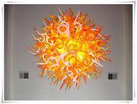 led multicolore achat en gros de-Plafonnier en verre de Murano multicolore avec luminaire orange et blanc en fer du lustre LED à économie d'énergie