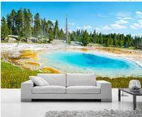 mavi arka planlar toptan satış-Mavi manzara Avrupa gerçek sahne 3d arka plan duvar boyama 3d duvar resimleri oturma odası için duvar kağıdı