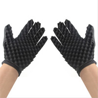 Wholesale cotton weights resale online - Sponge Black Home Soft Gloves Simple Convenient Reusable Practical Light Weight Hot Sale Curly Hair Hairdressing Tool dyD1
