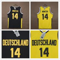 alemanha camisola preta venda por atacado-Camisas de basquete personalizado dos homens Dirk # 14 Nowitzki Team Deutschland Alemanha Bordado preto amarelo basquete usa costurado tamanho XXS-6XL