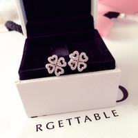 Lucky clover Stud Earring Original Box for Pandora 925 Sterling Silver CZ Diamond Earrings Women luxury Wedding Jewelry
