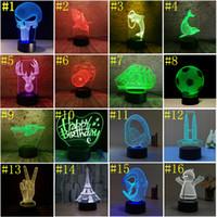 luces decorativas florales de noche al por mayor-Luces LED 3D Interruptor táctil de 7 colores LED Luz de noche Acrílico Lámpara de ilusión óptica 3d Ambiente Iluminación de novedad 48 Patrón Opcional