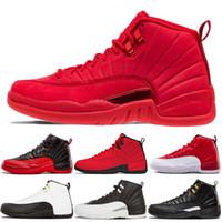 separation shoes f5c50 66b99 Retro Air Jordan 12 AJ12 Nike Chaussures de basket 12 12s Gym Red Bulls  TAXI le maître hyper jade Français jeu contre la grippe bleue hommes Sport  Sneakers ...
