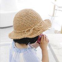 klasik şapkalar toptan satış-El yapımı Örgü hasır kadınlar yaz şapka çocuklar panamas Vintage Sinamay Fascinator şapka kız için