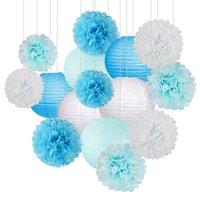 papéis lanternas venda por atacado-Duche 15pcs / Papel Flor Balls Poms papel do favo de mel Bolas Birthday Party lanternas de papel bebê Wedding Supplies decoração de casa