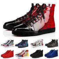 amantes do badminton venda por atacado-red bottoms Designer de moda de luxo da marca de fundo vermelho studded spikes apartamentos sapatos para mulheres dos homens amantes do partido de glitter tênis de couro