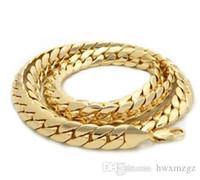 14k enlaces cubanos al por mayor-Cadena de eslabones cubanos para hombre de 10 mm de Miami, 14k chapado en oro, collar de 24