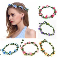 çiçekli başlıklar toptan satış-Düğün Taçlar Bohemian Çiçek Gelin headpieces Gelin Gelinlik Çiçek Saç Çelenk Boho Çiçek Headdress başlıkiçi Tatil Seyahat